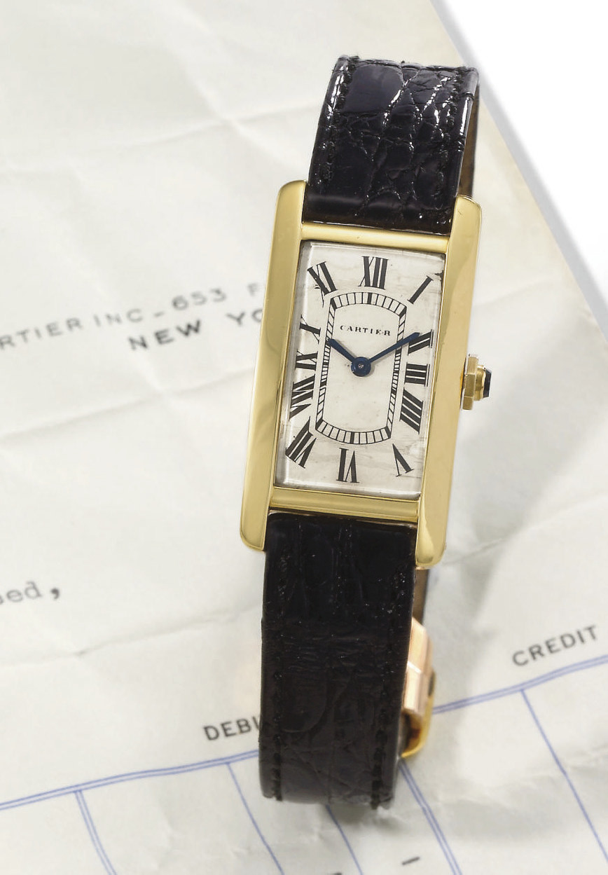Cartier. A fine 18K gold recta