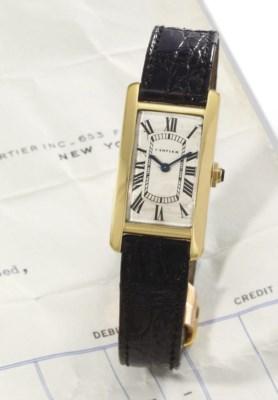Cartier. A fine 18K gold recta