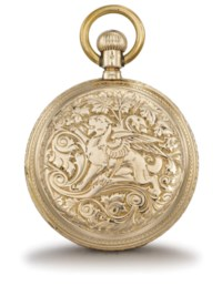 Assmann. A fine 14K gold hunter case keyless lever watch with richly engraved case