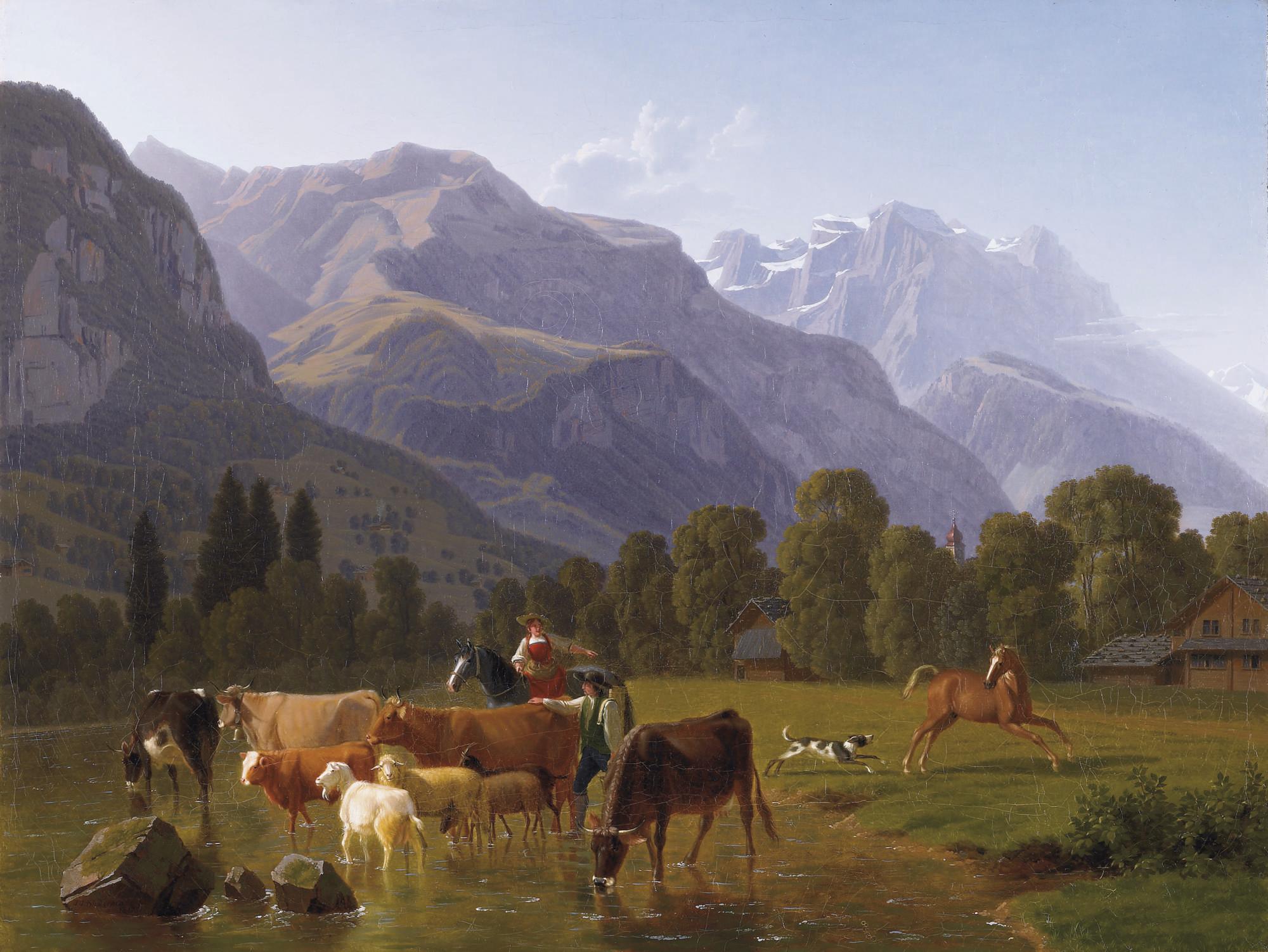 Blick von oberhalb Schattdorf (Kt. Uri) Richtung Uri-Rotstock mit Kirchspitze der Stiftskirche Schattdorf, 1812