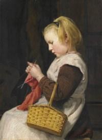 Strickendes Mädchen mit Korb, um 1897