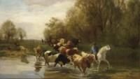 Kühe mit Reiter am Wasser beim Zürichhorn, 1877