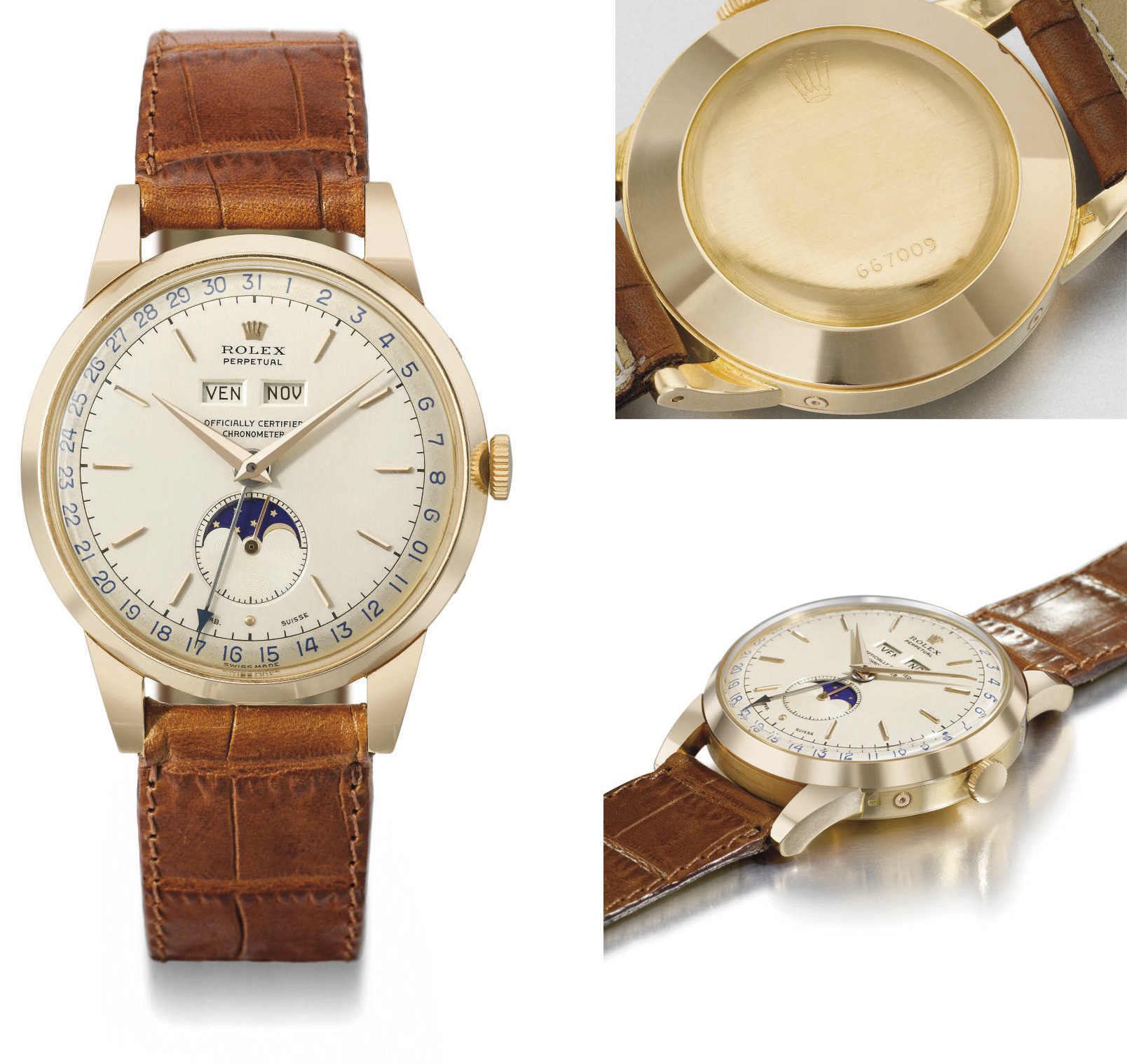 Rolex. An extremely fine, rare and large 18K pink gold automatic triple calendar wristwatch with moon phases and two-tone silvered dial