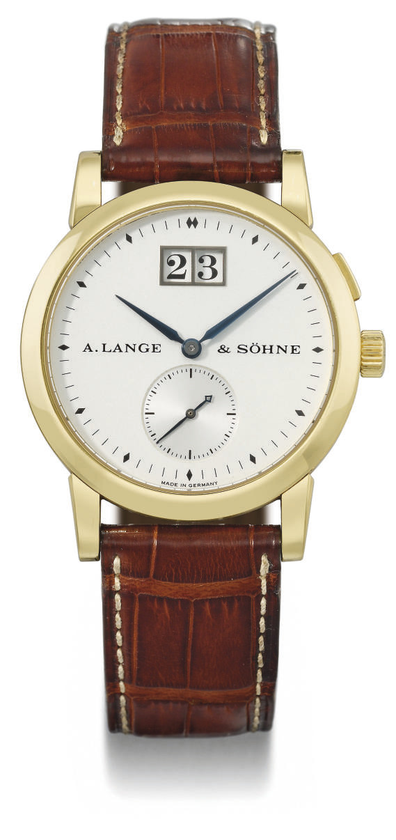 A. Lange & Söhne. A very fine and rare 18K gold wristwatch with oversized date