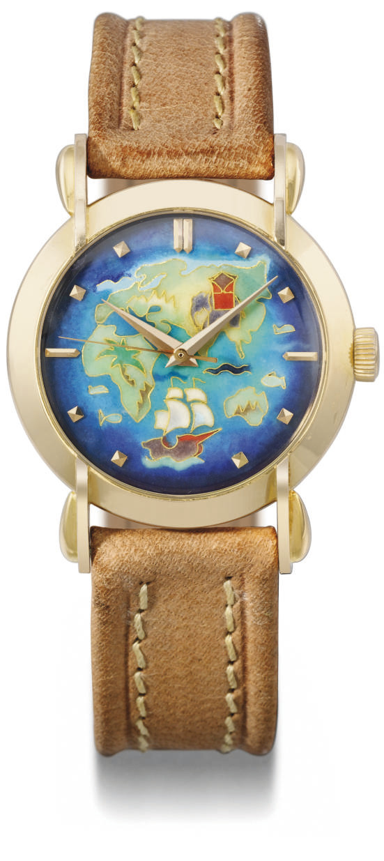 Eska. A very fine, rare and attractive 18K pink gold automatic wristwatch with sweep centre seconds and cloisonne enamel dial depicting the eastern hemisphere