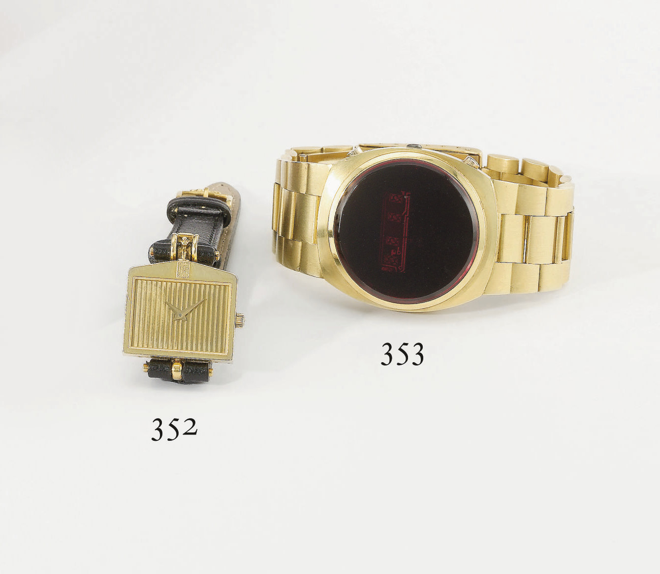 Swiss. An unusual and early 18K gold tonneau-shaped digital wristwatch with bracelet