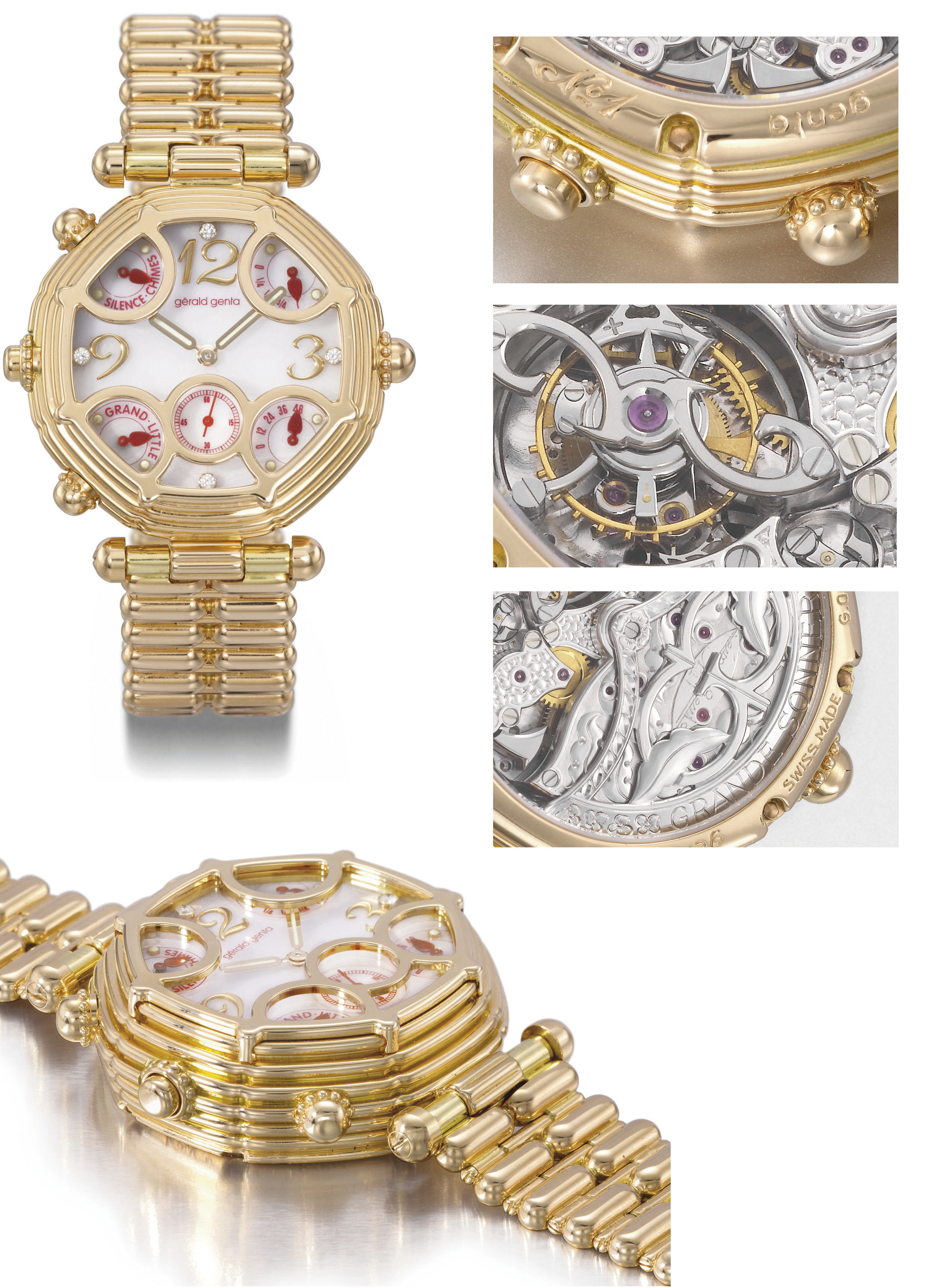 Gerald Genta. An extremely fine and unique 18K pink gold automatic two train minute repeating grande and petite sonnerie tourbillon wristwatch with power reserve, diamond-set mother-of-pearl dial, bracelet and Westminster Chime