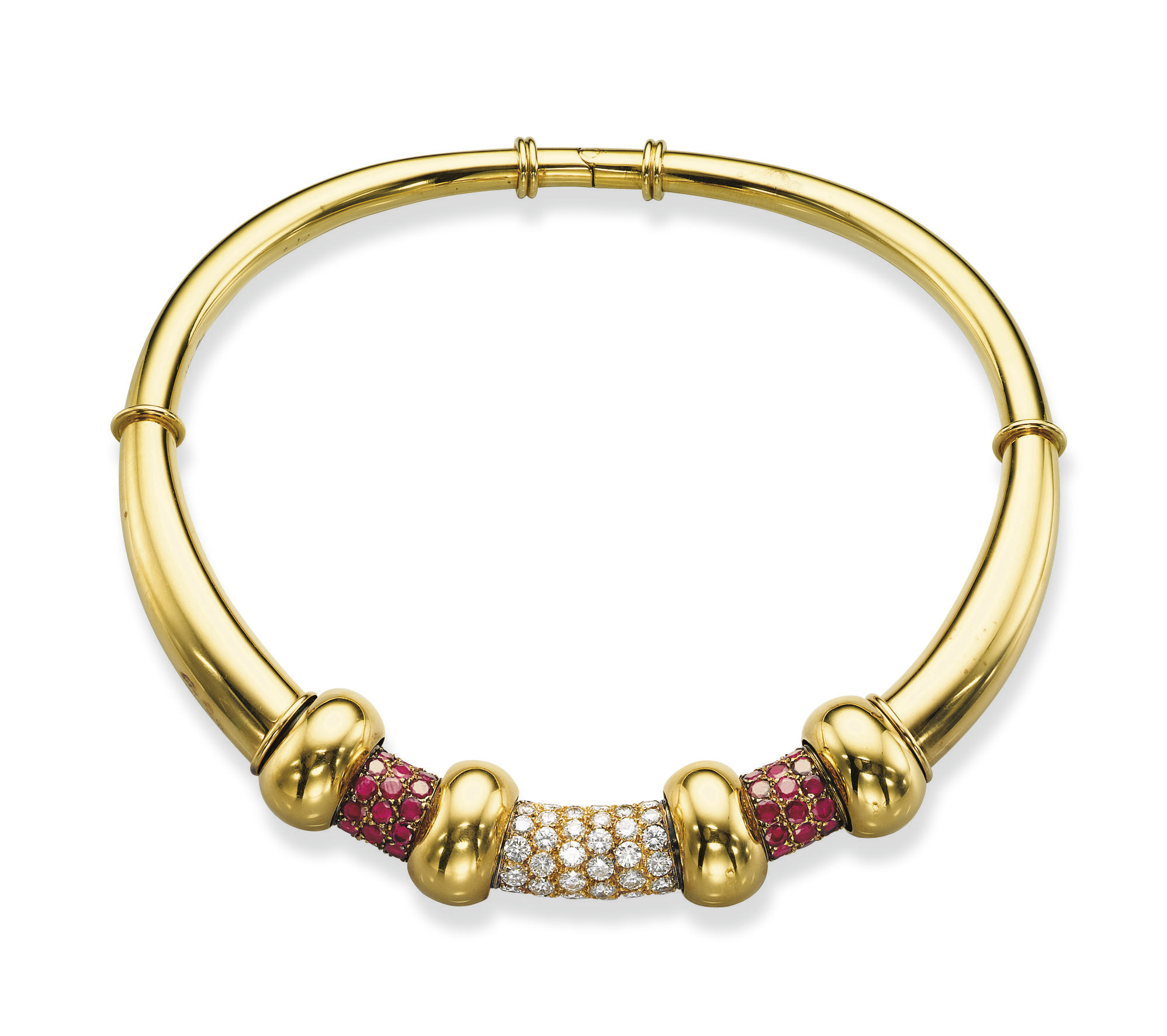 A STYLISH RETRO RUBY, GOLD AND