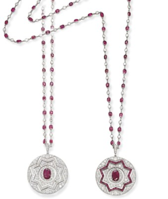 A VERSATILE ART DECO RUBY AND