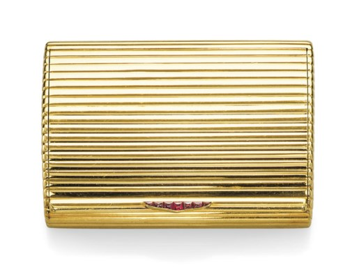 A GOLD AND RUBY CIGARETTE CASE