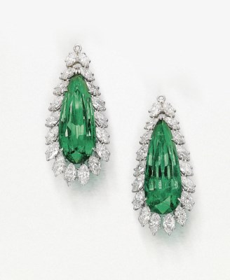 A PAIR OF SUPERB EMERALD AND D