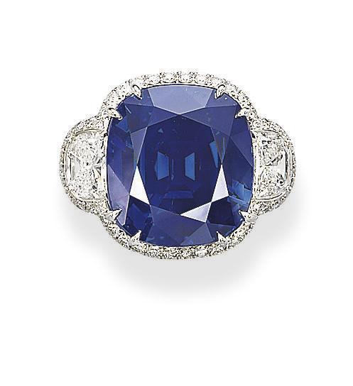 A UNIQUE SAPPHIRE AND DIAMOND