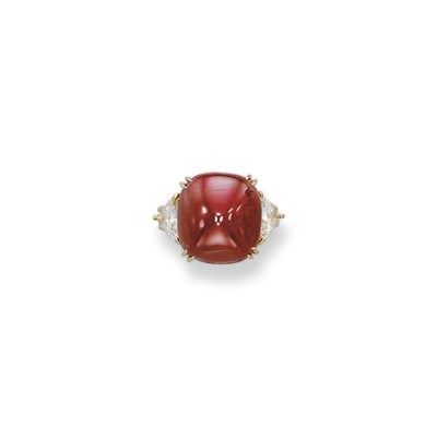 A RUBY AND DIAMOND RING, BY AL
