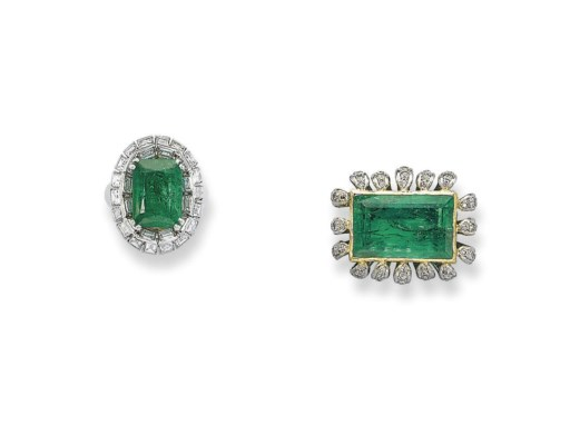 A GROUP OF EMERALD AND DIAMOND