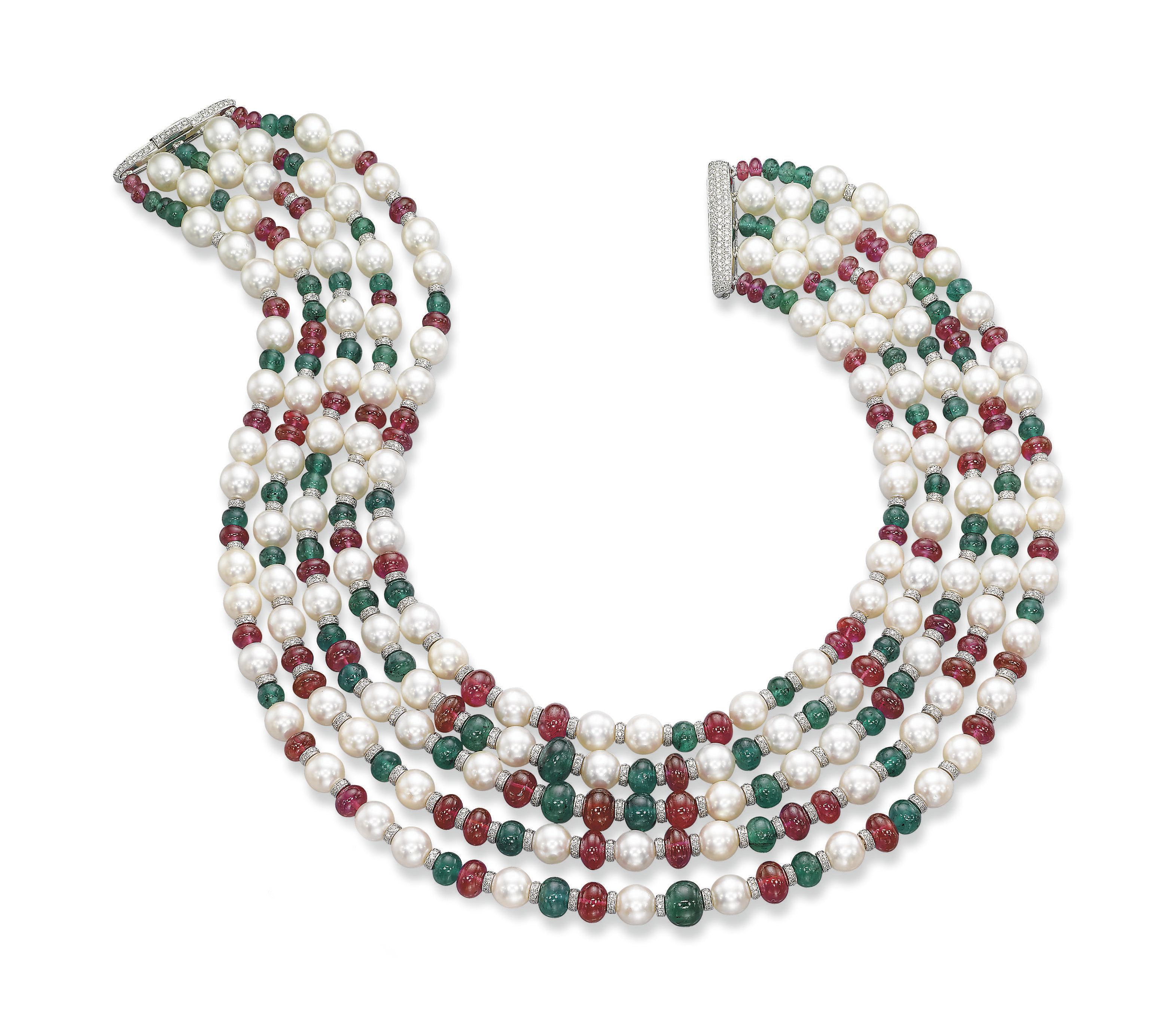 AN EMERALD, RUBY AND CULTURED PEARL NECKLACE, BY MICHELE DELLA VALLE