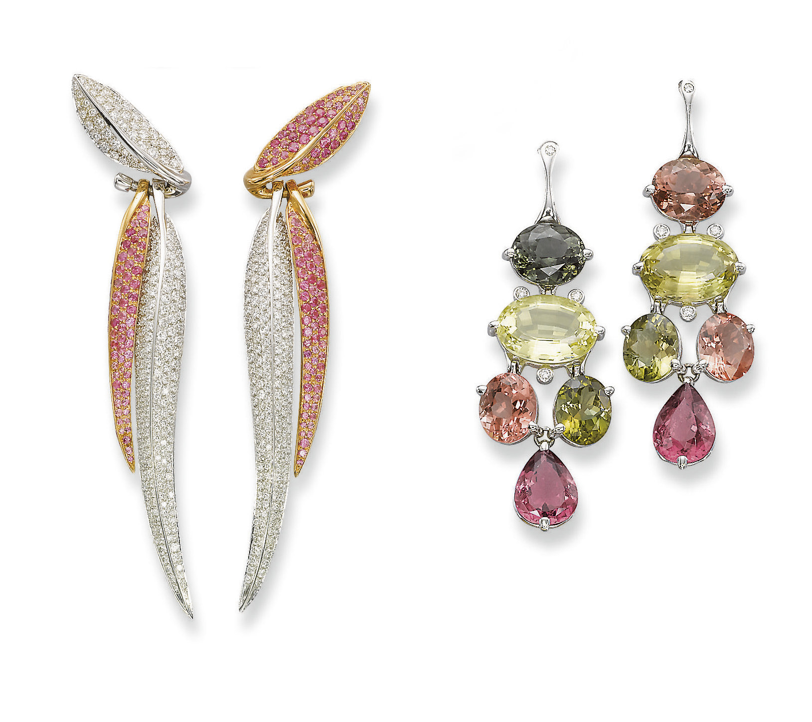 TWO PAIRS OF GEM-SET AND DIAMO