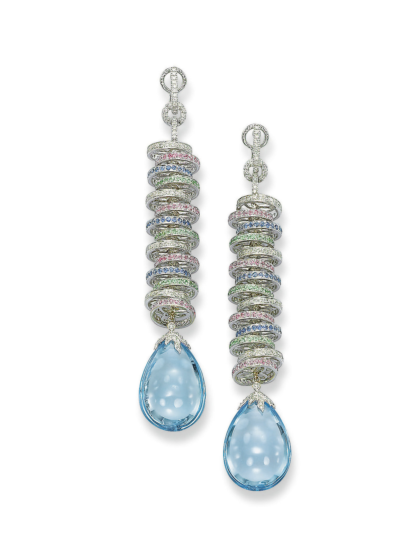 A PAIR OF BLUE TOPAZ, GEM-SET
