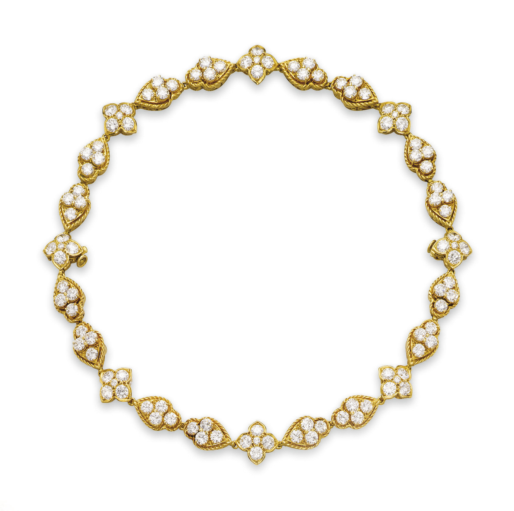 A GOLD AND DIAMOND NECKLACE  P