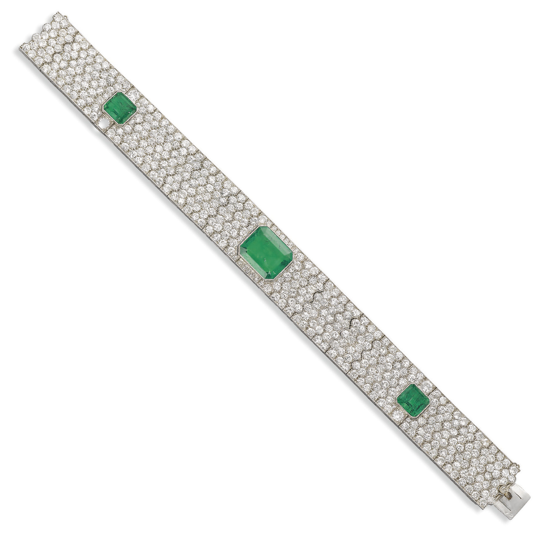 AN ART DECO EMERALD AND DIAMOND BRACELET, BY FONTANA