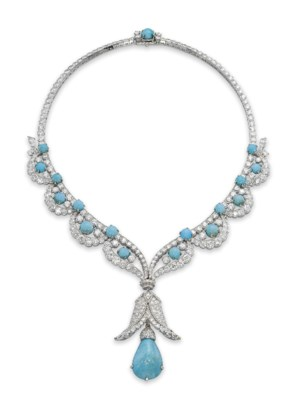 A CHARMING TURQUOISE AND DIAMO