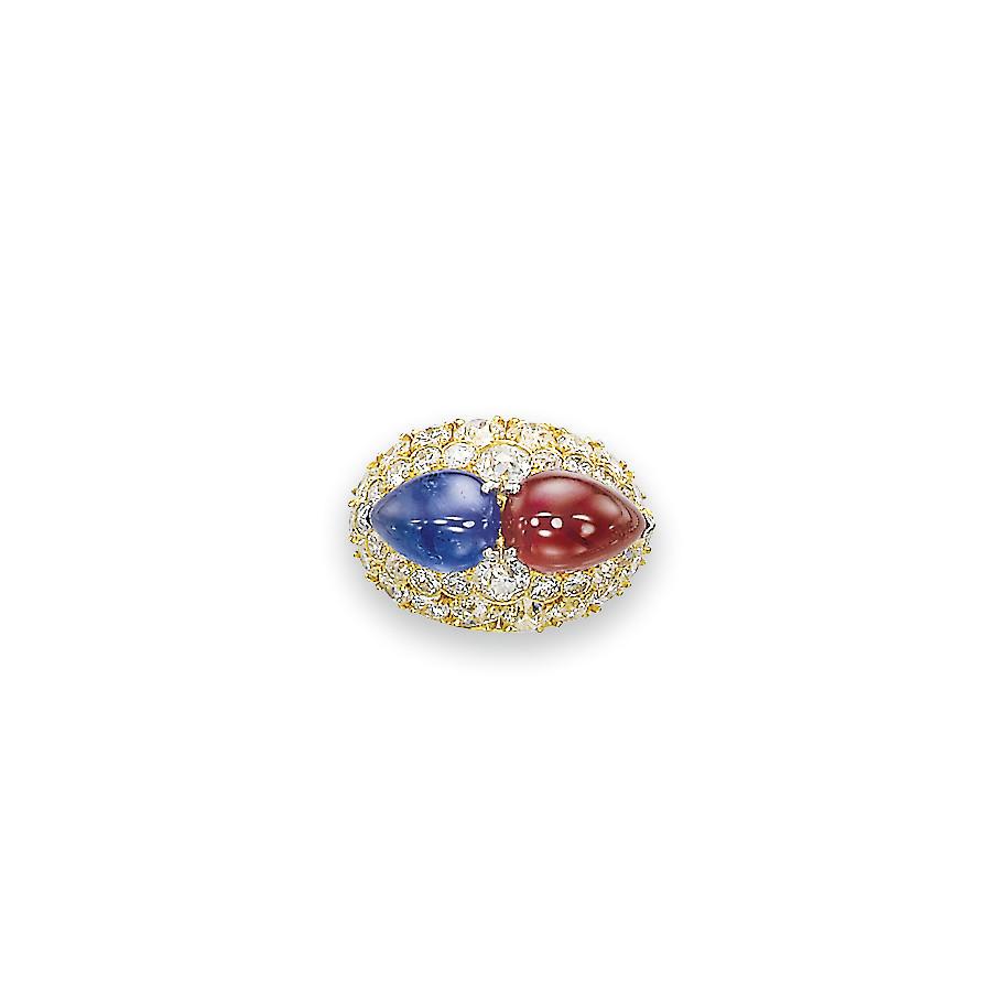 A SAPPHIRE, RUBY AND DIAMOND R