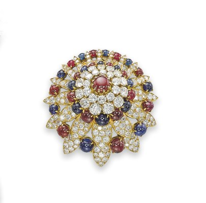 A RUBY, SAPPHIRE AND DIAMOND B