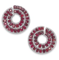 A PAIR OF ATTRACTIVE RUBY AND DIAMOND EAR CLIPS, BY MICHELE DELLA VALLE