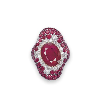 A RUBY AND DIAMOND RING, BY DE