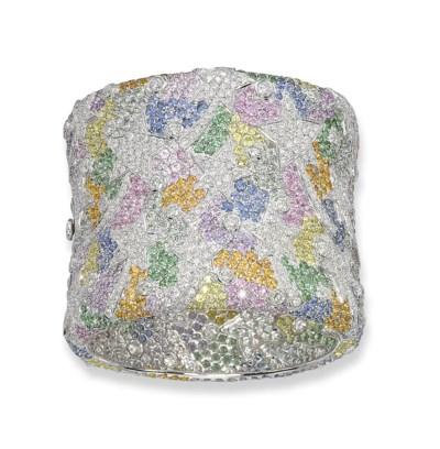 A MULTI-GEM AND DIAMOND BANGLE