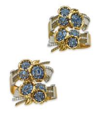 A PAIR OF IMPRESSIVE SAPPHIRE AND DIAMOND BANGLES, BY OSTERTAG