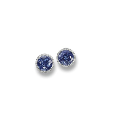 A PAIR OF SAPPHIRE AND DIAMOND