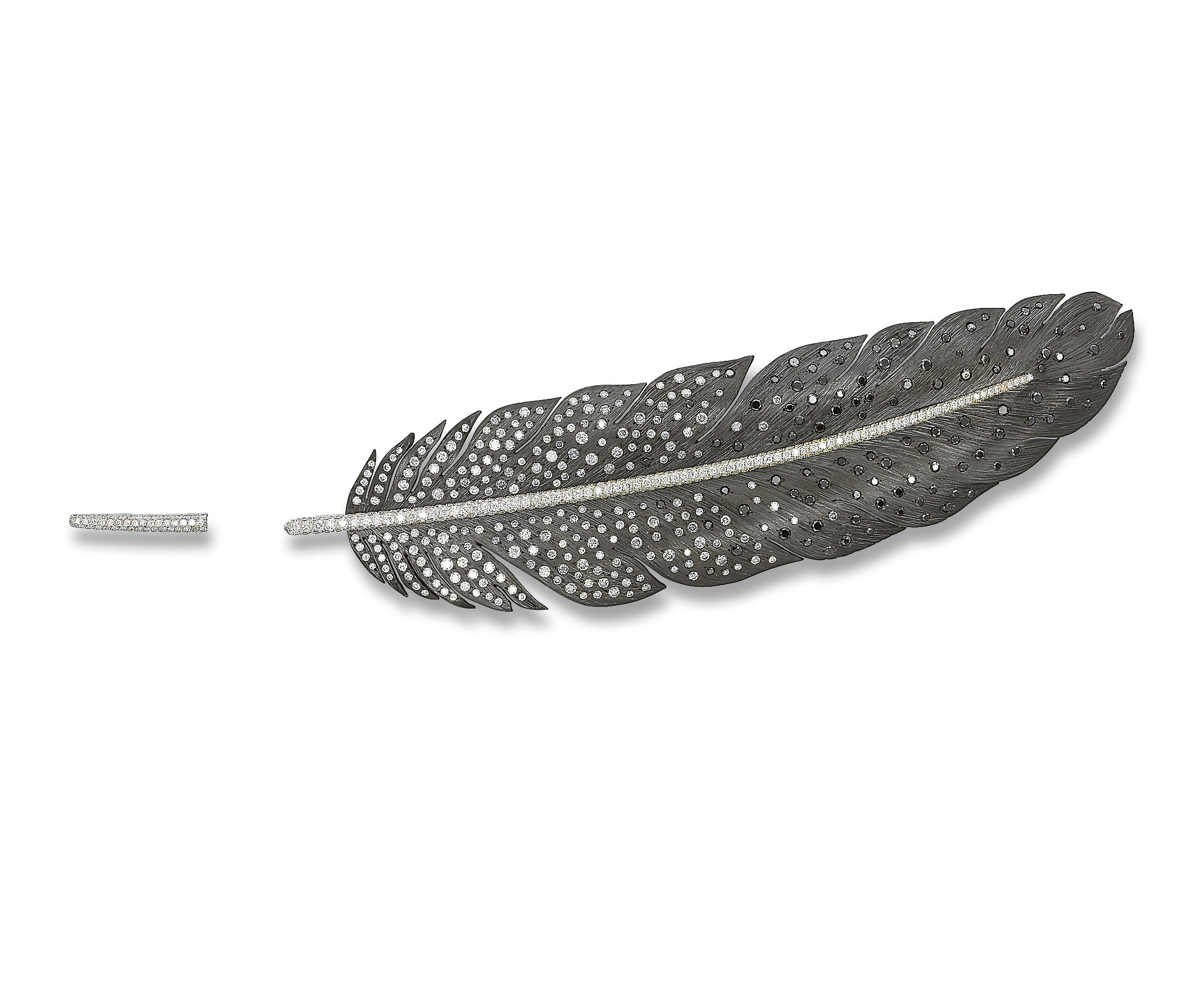 AN ELEGANT TITANIUM, COLOURED DIAMOND AND DIAMOND FEATHER BROOCH, BY MICHELE DELLA VALLE