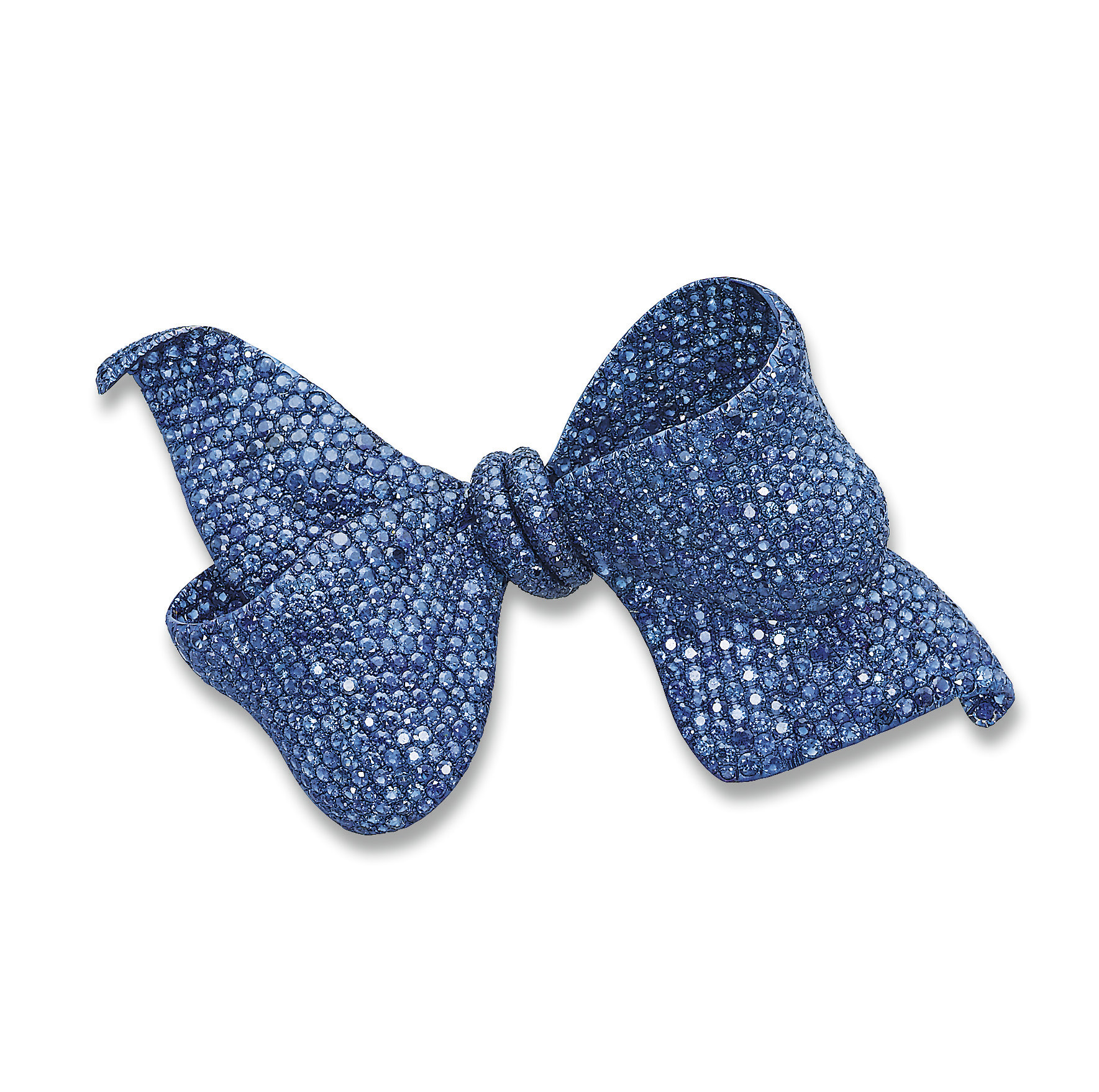 AN IMPRESSIVE TITANIUM AND SAPPHIRE BOW BROOCH, BY MICHELE DELLA VALLE