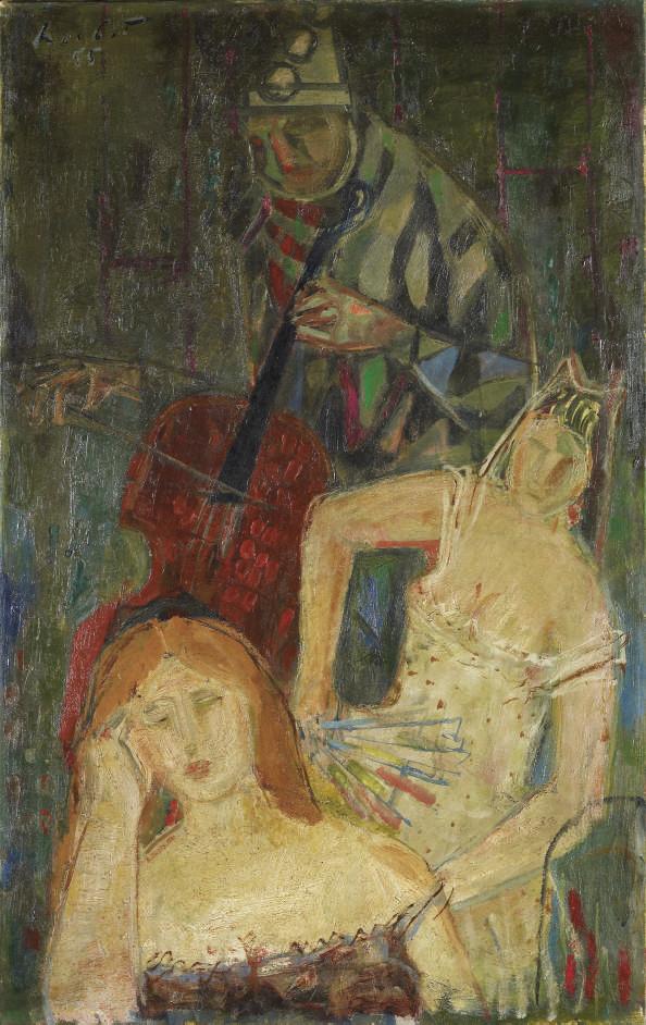 Musizierender Harlekin mit zwei Mädchen, 1953