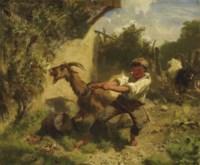Knabe mit Ziege in Landschaft, 1858