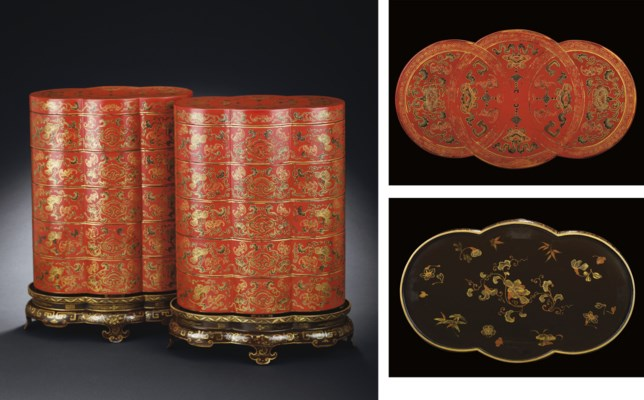 A PAIR OF PAINTED LACQUER STAC