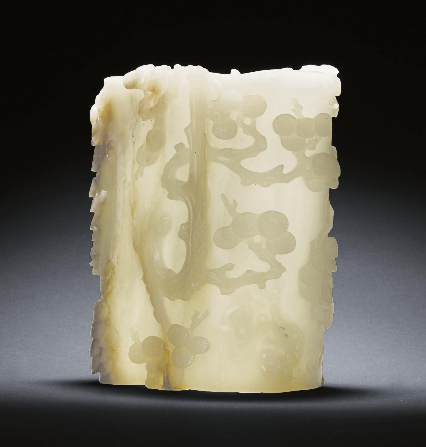 A RARE WHITE JADE PINE-TREE TR
