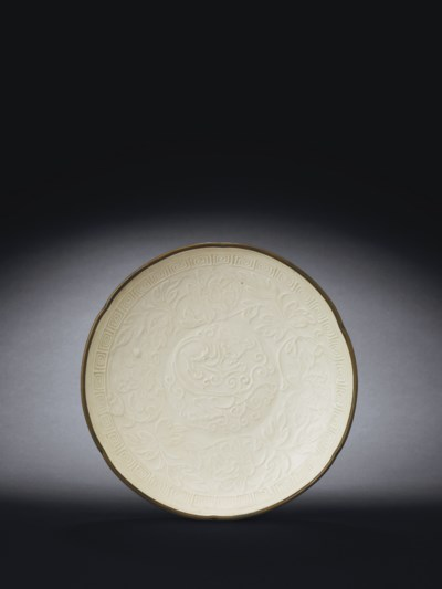 14A MOULDED DINGYAO DISH AND A