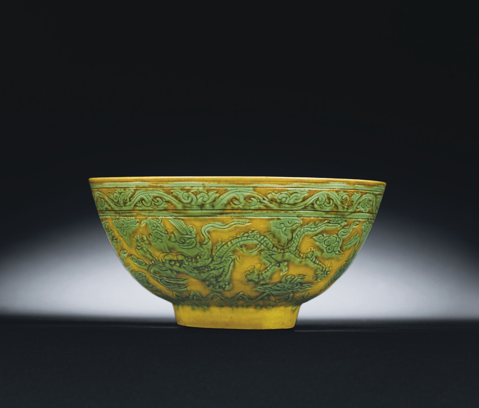 A RARE MING GREEN AND YELLOW I