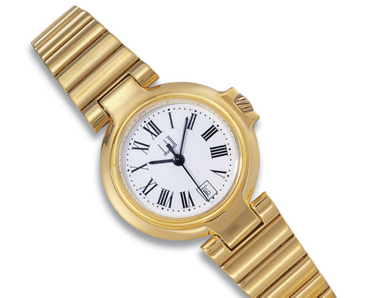 DUNHILL  LADY'S 18K GOLD BRACELET WATCH WITH SWEEP SECONDS AND DATE DISPLAY