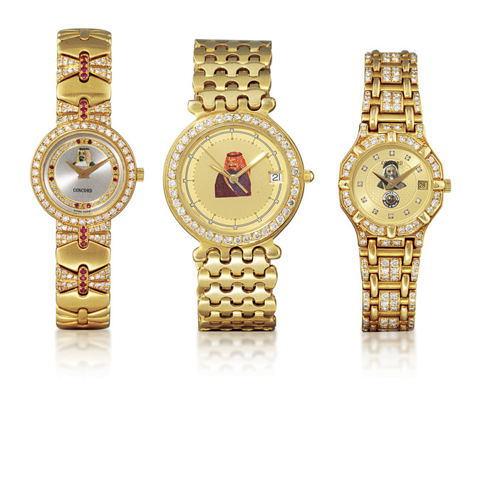 FRED/CONCORD  TWO 18K GOLD AND DIAMOND-SET BRACELET WATCHES WITH DATE AND AN 18K GOLD, DIAMOND AND RUBY-SET BRACELET WATCH