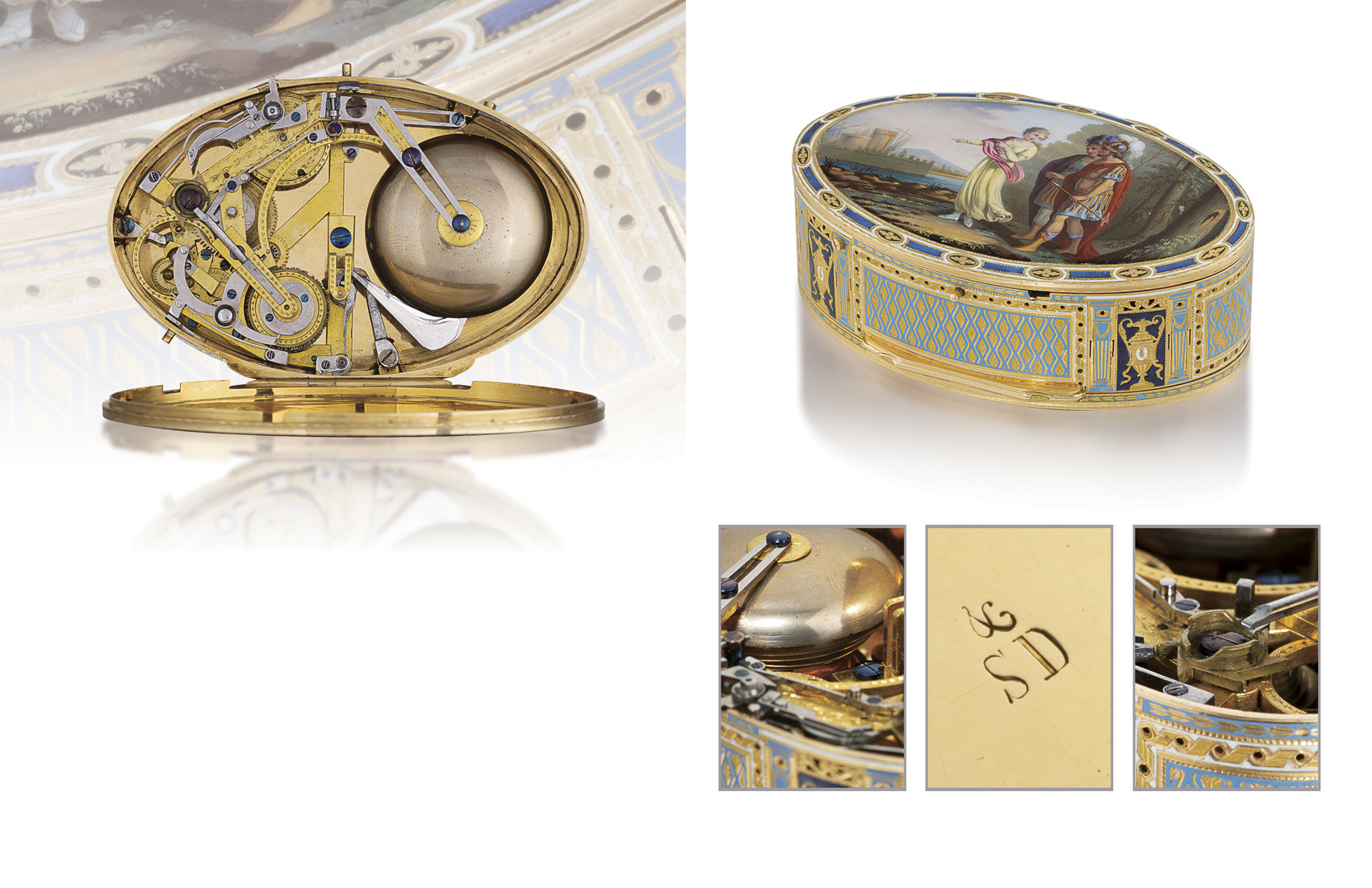 SWISS  A RARE 18K GOLD AND ENA