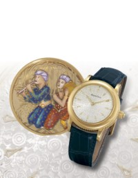 """JAQUET-DROZ, """"MUSICIAN""""  FINE AND UNUSUAL, 18K GOLD MANUAL-WINDING MUSICAL WRISTWATCH WITH LIBERTINE AUTOMATA"""
