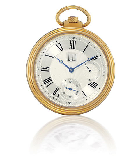 "DUNHILL, ""CENTENARY POCKET WATCH""  FINE AND RARE, 18K GOLD OPENFACE KEYLESS LEVER POCKET WATCH WITH SMALL SECONDS AND POWER-RESERVE INDICATION, LIMITED EDITION OF 25 PIECES"