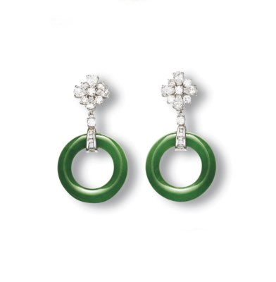 A PAIR OF JADEITE HOOP AND DIA