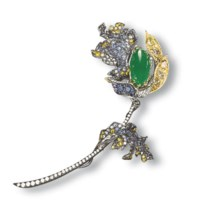 A JADEITE, MULTI-COLOURED DIAMOND AND SAPPHIRE BROOCH, BY CINDY CHAO