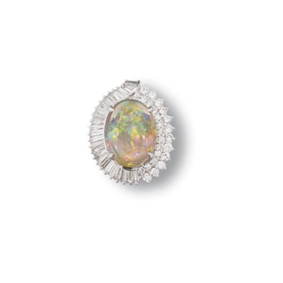 A CRYSTAL OPAL AND DIAMOND RIN