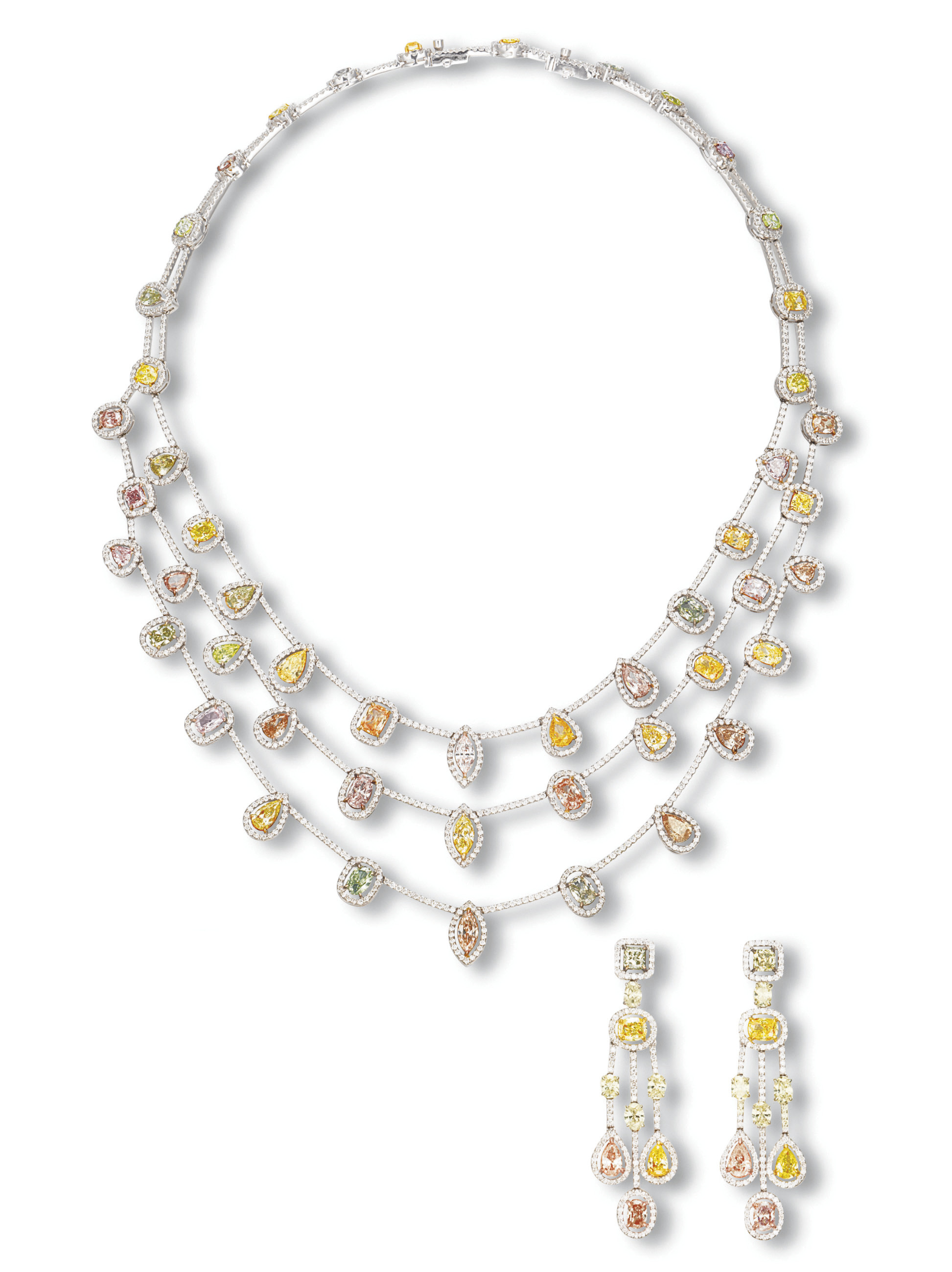 A SUITE OF COLOURED DIAMOND AN