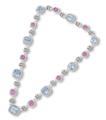 A SAPPHIRE, PINK SAPPHIRE AND