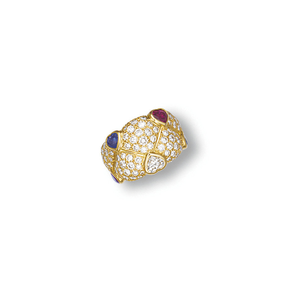 A DIAMOND, RUBY AND SAPPHIRE R